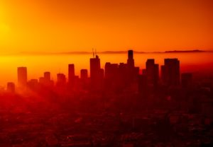 smog at sunset in LA